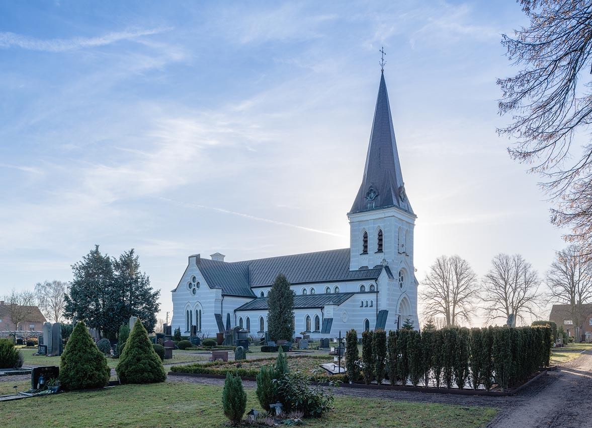 Nosaby kyrka | Church, Kristianstad, Skåne, Sweden: Exteriör | Exterior, arkitekt | architect Helgo Zettervall [2018]<br>Lat: 56.052084N, Long: 14.193985E Copyright © Kristian Adolfsson / www.adolfsson.photo