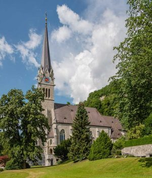Cathedral of St. Florin, Vaduz, Liechtenstein: Exterior | Exteriör | Aussenansicht [2018]Lat: 47.136211N, Long: 9.522885E Copyright © Kristian Adolfsson / www.adolfsson.photo