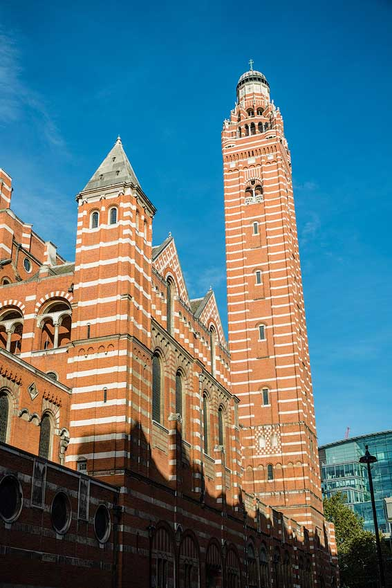 Westminster Cathedral, London, United Kingdom: Towers, exterior [2016]<br>Lat: 51.495792N, Long: 0.139447W Copyright © All rights reserved. Kristian Adolfsson / www.adolfsson.photo