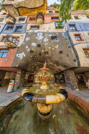 Hundertwasserhaus, Landstraße district, Wien | Vienna, Austria: Fountain, exterior | Fontäne, Außenansicht | Fontän, exteriör (Fisheye lens) Architect Friedensreich Hundertwasser [2016]Lat: 48.207399N, Long: 16.393978E Copyright © All rights reserved. Kristian Adolfsson / www.adolfsson.photo