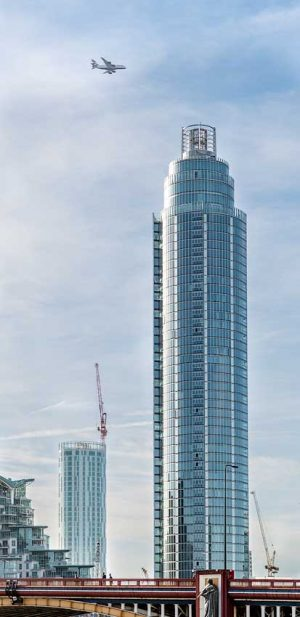 St George Wharf Tower (Vauxhall Tower), London skyline with Airbus A380 airplane, UK [2016]<br>Lat: 51.482639N, Long: 0.132222W Copyright © All rights reserved. Kristian Adolfsson / www.adolfsson.photo